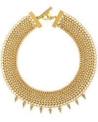 Vince Camuto Gold-tone Chain Mail Spike Necklace - Lyst
