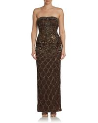 Sue Wong Floral-beaded Strapless Gown - Lyst