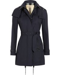 Burberry Brit - Hooded Cotton-gabardine Trench Coat - Lyst