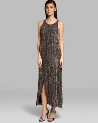 Halston Heritage Maxi Dress Sleeveless Front Drape - Lyst