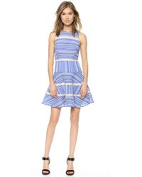 Tibi Sleeveless Cotton Stripe Dress  - Lyst