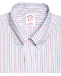 Brooks Brothers Noniron Traditional Fit Framed Hairline Stripe Dress Shirt - Lyst
