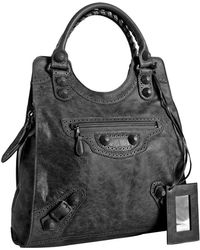 Balenciaga Anthracite Lambskin Giant Covered Brief Bag - Lyst