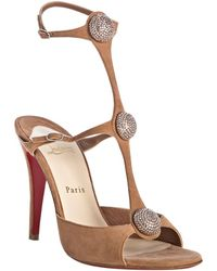 Christian Louboutin Clay Suede Spartenvol 100 Crystal Sandals - Lyst