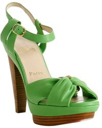 Christian Louboutin Bright Green Leather Talitha Platform Sandals - Lyst