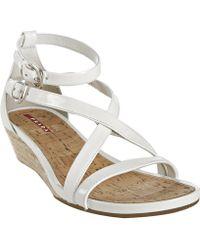 Prada Sport White Patent Leather Jute Wedge Sandals - Lyst