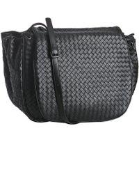 Bottega Veneta Black Woven Nappa Cross Body Flap Bag - Lyst