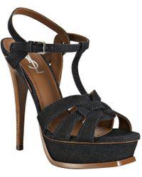 Saint Laurent Indigo Denim Tribute Platform Sandals - Lyst