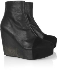 Minimarket - Leather and Suede Wedge Boots - Lyst