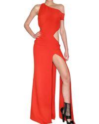Versace Silk Cady Long Dress red - Lyst