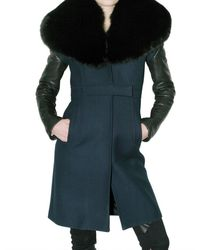 Givenchy Double Cloth Leather and Fox Coat - Lyst
