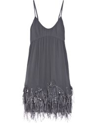 Rebecca Taylor Feather-embellished Silk Dress - Lyst