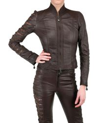 Sonia Villa Slit Arm Leather Jacket brown - Lyst