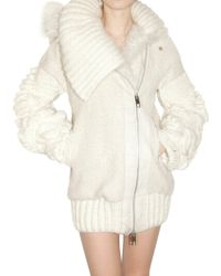 Julien Macdonald Long Curly Knit Parka Coat - Lyst