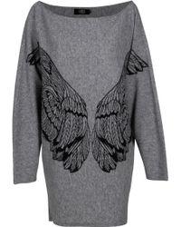 Lublu Wing Detail Wool Dress - Lyst
