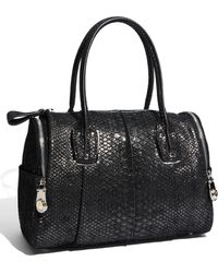 B. Makowsky Whitney - Shimmer Snake Embossed Leather Satchel - Lyst