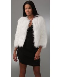 Halston Faux Goat Short Fur Coat In Bianca in White | Lyst