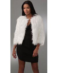 Halston Faux Goat Short Fur Coat In Bianca in White | Lyst
