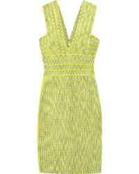 Hervé Léger Jacquard Bandage Dress yellow - Lyst