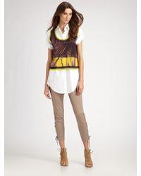 Jean Paul Gaultier Cotton Side Lace Skinny Pants - Lyst
