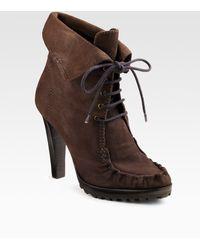 Diane von Furstenberg Jameson Lace-up Suede Ankle Boot - Lyst