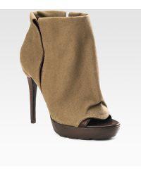 Dolce Vita Farrah Open-toe Canvas Ankle Boots - Lyst