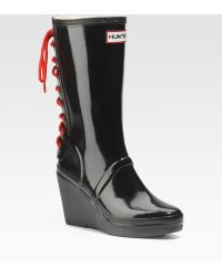 Hunter Glossy Rubber Wedge Rain Boots - Lyst