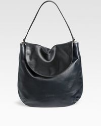 Jil Sander Contrast Fold Flap Small Leather Hobo - Lyst
