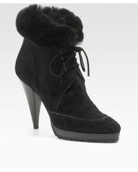 Oscar de la Renta Suede Lace-up Ankle Boots - Lyst