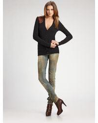 Ralph Lauren Blue Label - Wool/cashmere Cable-knit Cardigan - Lyst