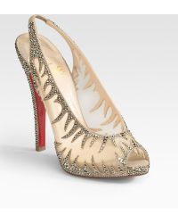 Christian Louboutin Maralena Crystal-covered Mesh Peep-toe Pumps - Lyst