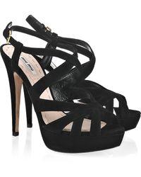 Miu Miu Multi-strap Suede Sandals - Lyst