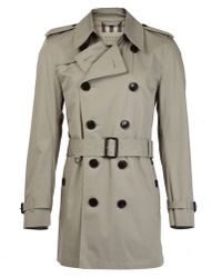 Burberry Taupe Short Cotton Trench Coat - Lyst