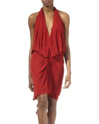 Julien Macdonald Drape Front Jersey Dress Red - Lyst