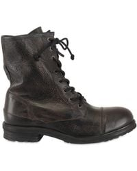 Ksubi Textured Calfskin Lace Up Low Boots - Lyst