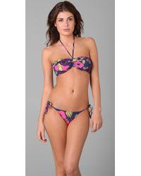 Tibi - Kamara Shirred Bandeau Bikini Top - Lyst