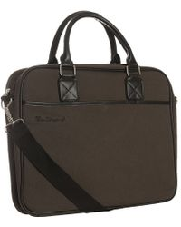 Ben Sherman - Dark Brown Canvas Laptop Messenger Bag - Lyst
