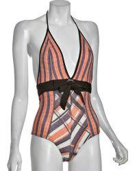 DIESEL - Orange Plaid Guaki Tie-waist One Piece Swimsuit - Lyst