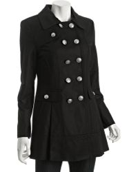 Laundry by Shelli Segal - Black Stretch Cotton Double Breasted Coat - Lyst