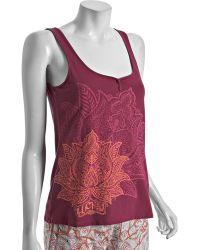 Lucky Brand - Wine Cotton Lotus Print Henley Pyjama Tank - Lyst