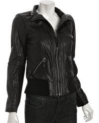 MICHAEL Michael Kors Black Leather Knit Trim Bomber - Lyst