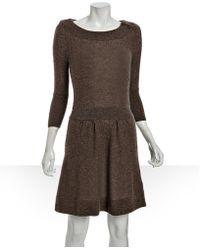 Qi - Oak Cashmere Blair Button Dress - Lyst