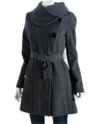SOIA & KYO - Black Wool Blend Herringbone Katrina Trenchcoat - Lyst