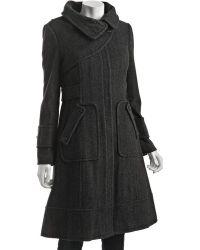 SOIA & KYO Charcoal Wool Blend Herringbone Cali-b Zip Coat - Lyst