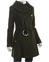 SOIA & KYO - Olive Wool Blend Herringbone Katrina Trenchcoat - Lyst