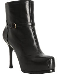 Saint Laurent Black Leather Tribtoo 80 Shearling Lined Booties - Lyst