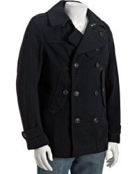 Diesel Navy Wool Blend Double Breasted Weghy Peacoat - Lyst