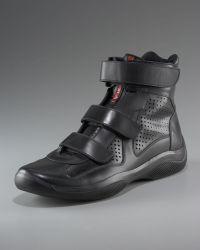 Prada Patent Hi-top Sneaker - Lyst