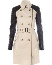 Burberry Prorsum Leather and Cotton Trench Coat - Lyst