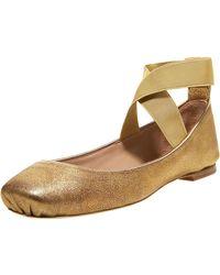 Chloé Crisscross Ballerina Flat, Bronze - Lyst